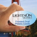 Oval Frosted Plastic 20 pt Business Cards w/Round Corners